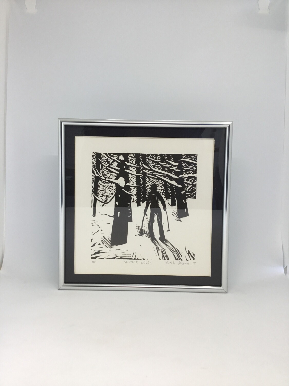 Winter Woods by Sarah Konrad (linoleum cut print)