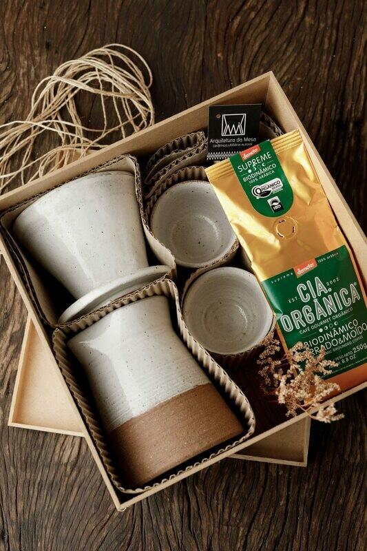Kit de coador de café, bulê e xícara em cerâmica para 2