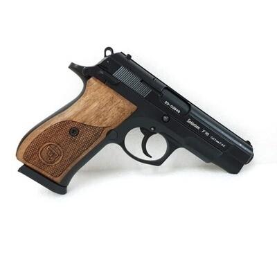 AKSA Arms F90 Blank/Signal Gun-Black with Wooden Grip