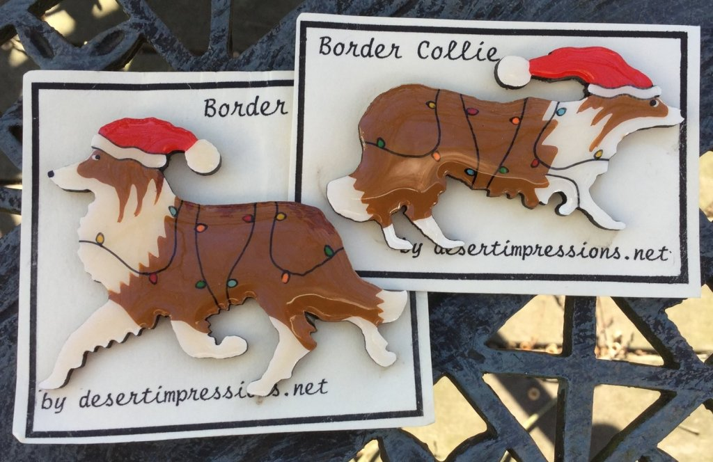 Red & White Border Collie Christmas Pin - FREE Shipping