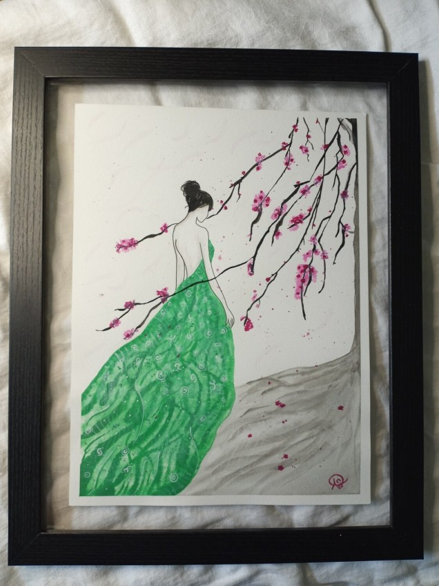Peach Blossom Lady - ORIGINAL - COMMISSION ONLY