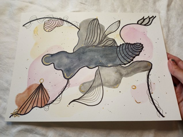 Doodle Watercolor Pink Gray -ORIGINAL- Abstract Painting
