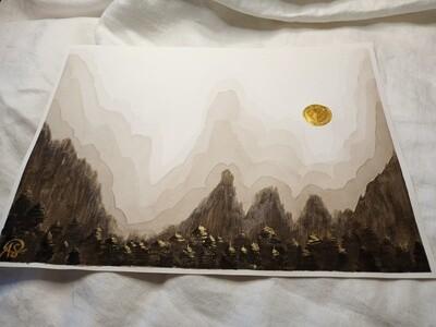 Golden Sun - Hazy Browns - ORIGINAL Watercolor Painting