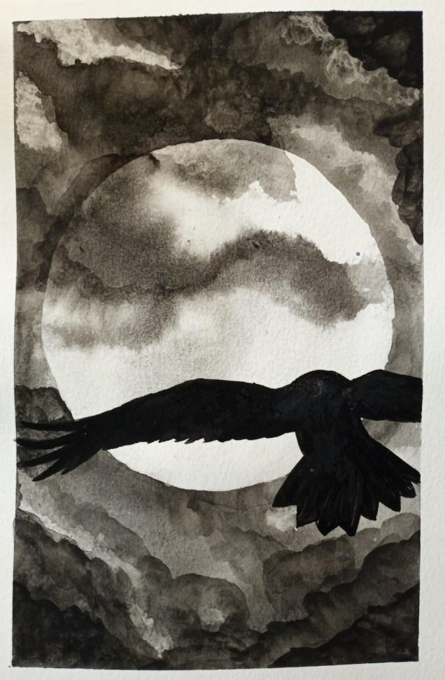 Moonlight Flight - ORIGINAL - watercolor