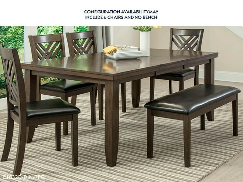 Dark Brown 7 Pc Dining set by Lifestyle (7 Piece Set)