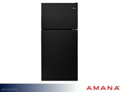 Black 18 cu ft Refrigerator with Top Mount Freezer by Amana (18 Cu Ft)