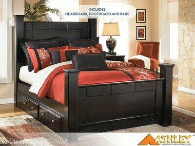 Shay Almost Black Bed with Headboard Footboard Rails by Ashley (Queen)