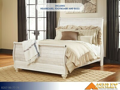 Willowton Whitewash Bed with Headboard Footboard Rails by Ashley (Queen)