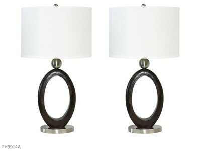 Steel-Wood Lamps by AWF Imports (Pair)