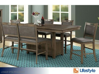 Brown 7 Pc Dining set by Lifestyle (7 Piece Set)