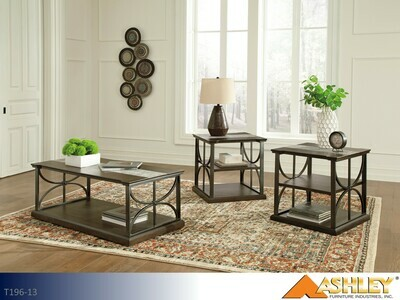 Carisbry Brown-Gray Occasional Table Set by Ashley (3 Piece Set)
