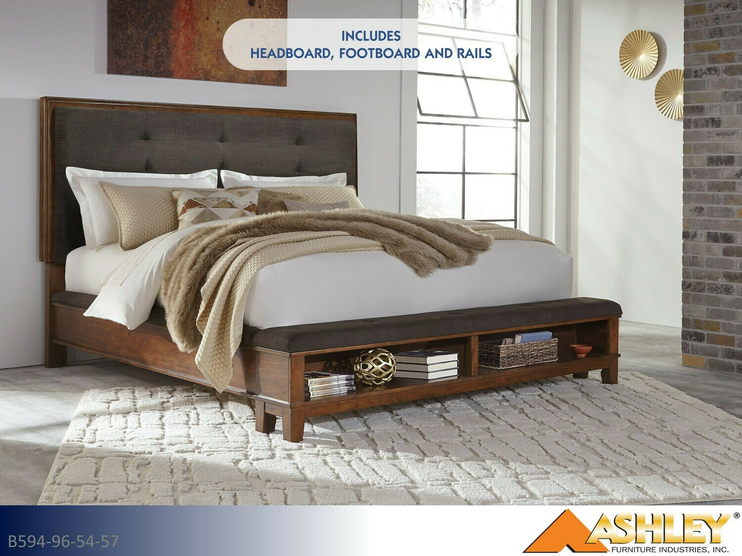 Ralene Bed with Headboard Footboard Rails by Ashley (Queen)