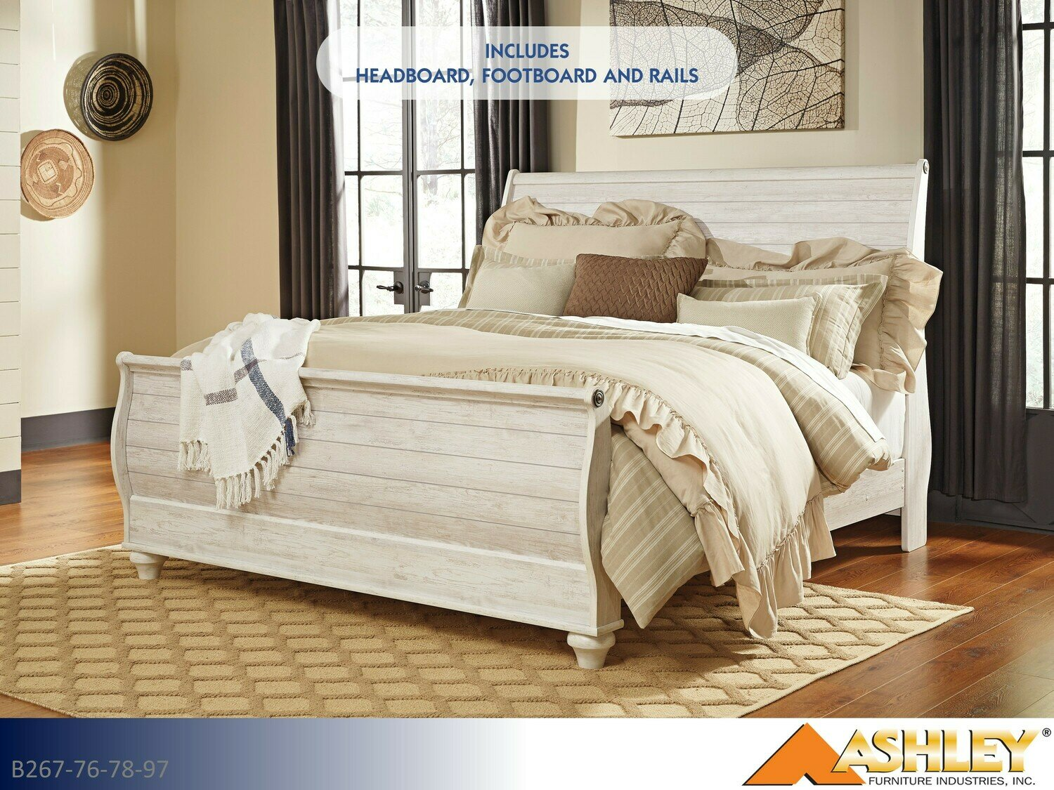 Willowton Whitewash Bed with Headboard Footboard Rails by Ashley (King)