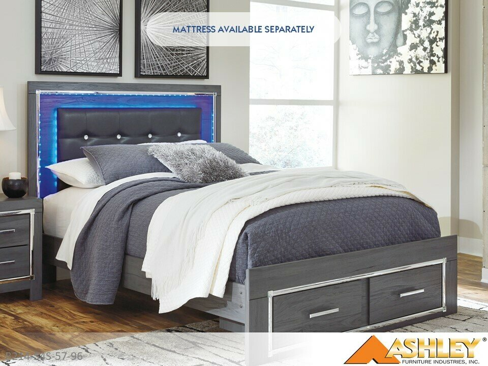 Lodanna Gray Bed with Headboard Footboard Rails by Ashley (Queen)