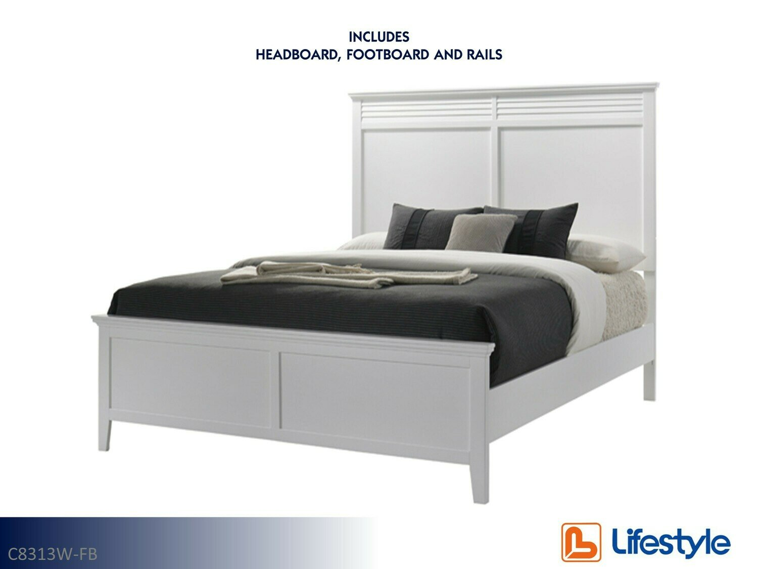 Cottage Bay White Bed with Headboard Footboard Rails by Lifestyle