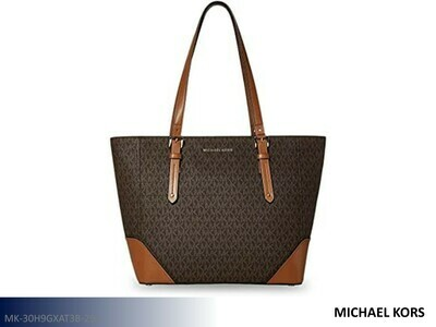 Aria Signature Brown-Black Handbag by Michael Kors (Tote)