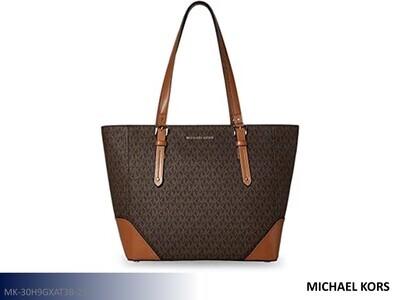 Aria Signature Brown-Black Handbag by Michael Kors (Tote)