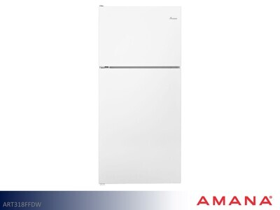 White 18 cu ft Refrigerator with Top Mount Freezer by Amana (18 Cu Ft)