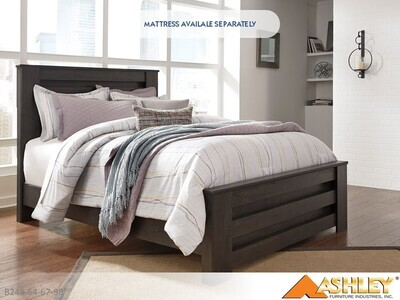 Brinxton Charcoal Bed with Headboard Footboard Rails by Ashley (Queen)