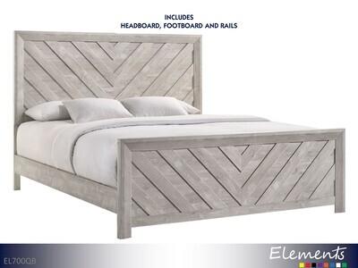 Ellen White Bed with Headboard Footboard Rails by Elements (Queen)