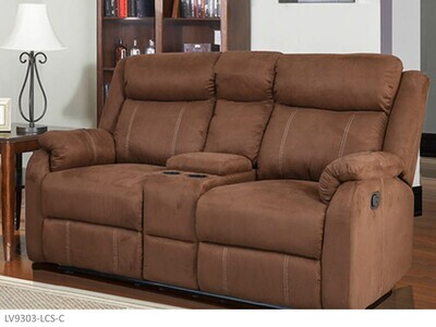 Chocolate Reclining Loveseat by AWF Imports