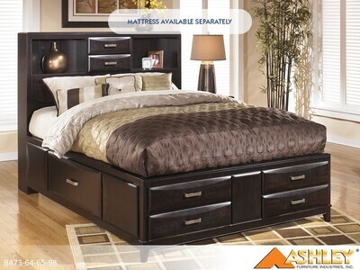 Kira Almost Black Bed with Headboard Footboard Rails by Ashley (Queen)