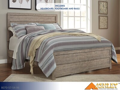 Culverbach Gray Bed with Headboard Footboard Rails by Ashley (Queen)