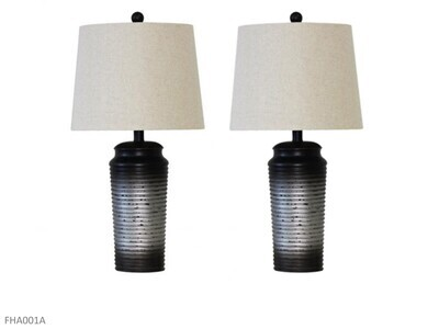 Black-Silver Lamps by AWF Imports (Pair)