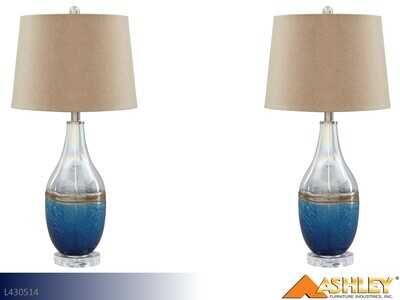 Johanna Blue-Clear Lamps by Ashley (Pair)
