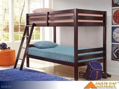 Halanton Dark Brown Bunk Bed by Ashley (Twin-Twin)