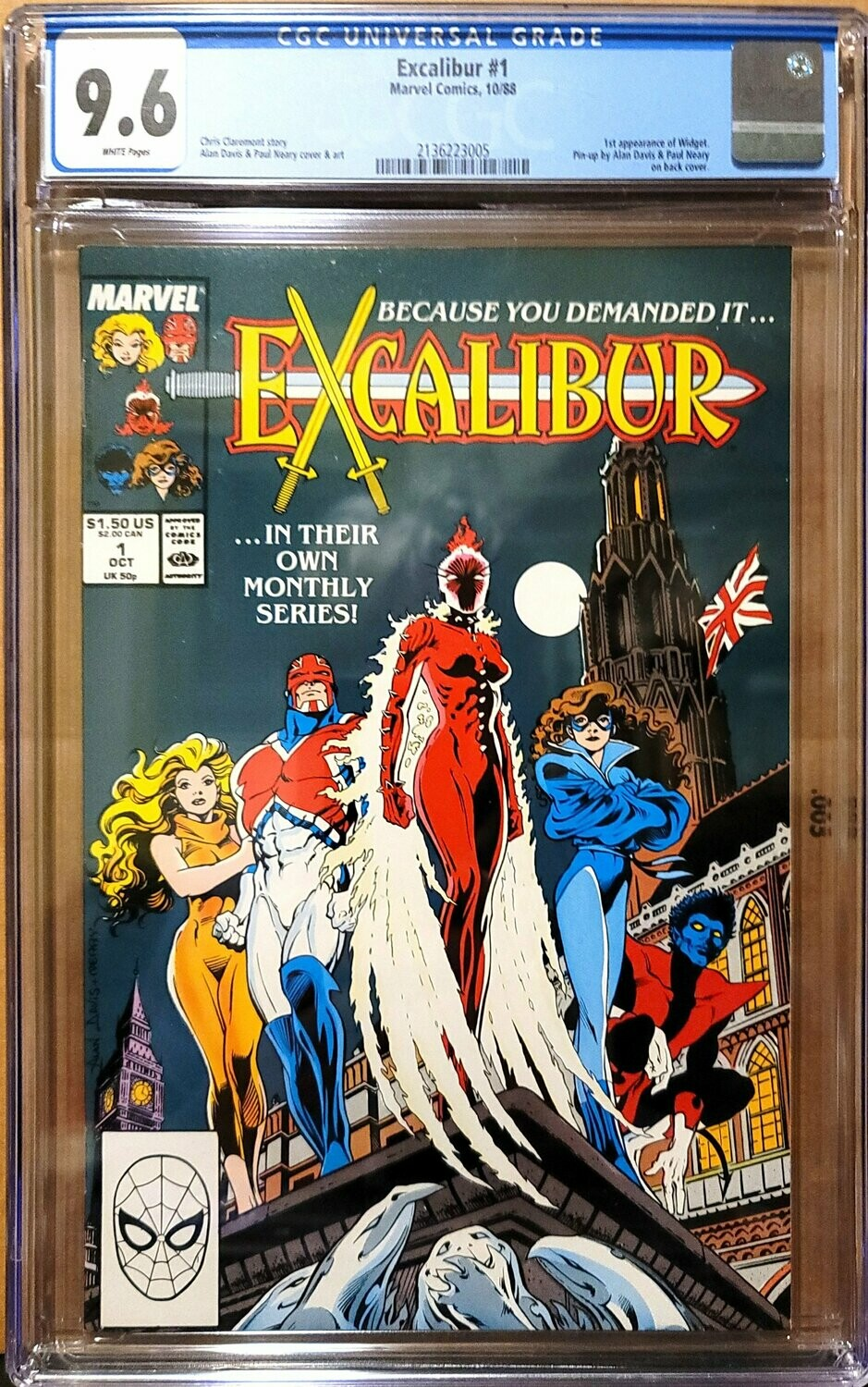 EXCALIBUR #1 MARVEL (W/P) (10/88) CGC 9.6 1ST APP. OF WIDGET