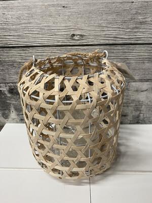 Woven Wood Lantern W/Glass