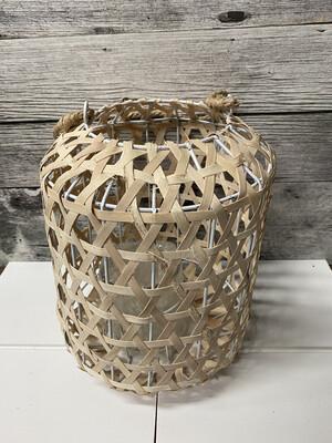 Woven Wood Lantern W Glass Lg