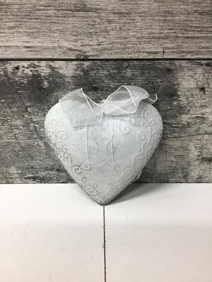 White Metal Heart/star Ornament