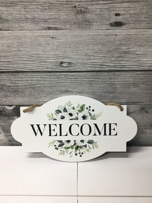 Welcome Wood Hanging Sign