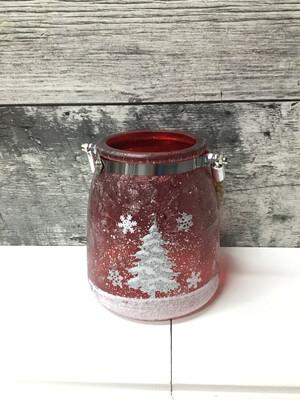 Red Ice Jar W/glitter Tree