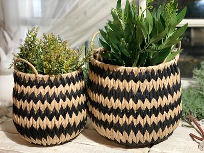 Black & Natural Basket Large