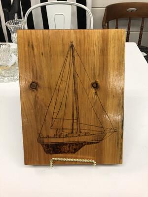 (126) Woodburned Sailboat