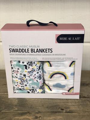 (249-2) Baby Blanket Set unicorn