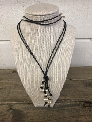 #80 Black Leather Pearl Necklace 4 Strands Double Bead