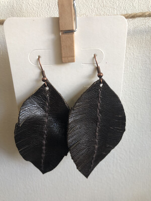 #22 Dark Brown Leather Feather Earrings - Large