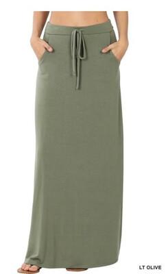 150 Olive Maxi Skirt