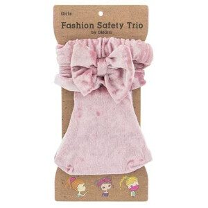 (632) 3pc GIRL'S FASHION SET WITH FACE MASK- PINK VELVET