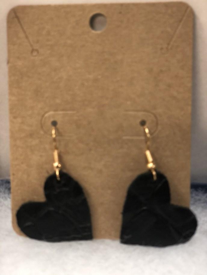 Black Heart Leather Earrings