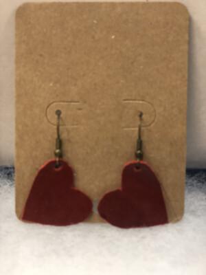 Red Heart Leather Earrings