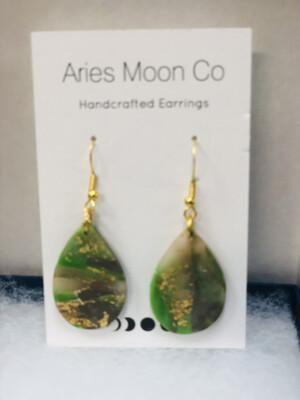 Green Teardrop Clay Earrings