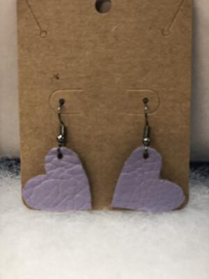 Purple Heart Leather Earrings