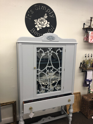 (64) Tall gray china cabinet w/glass door