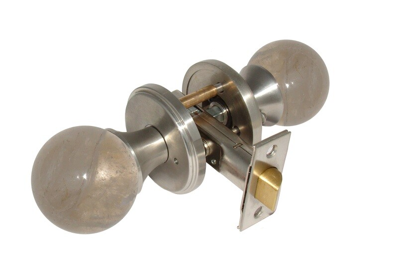 Gemstone Hardware Door Knob Smokey Quartz Satin Stainless Steel Passage 2-3/4
