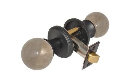Gemstone Hardware Door Knob Smokey Quartz Matte Black Passage 2-3/4